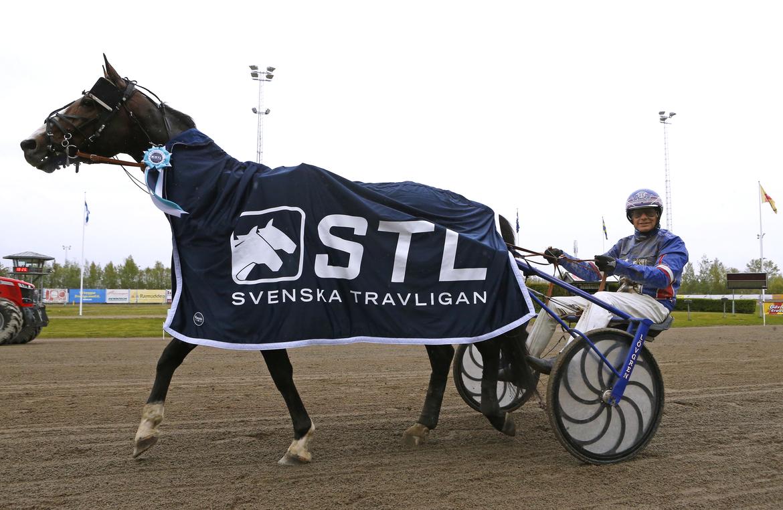 """Racing Mange och Joakim Lövgren efter segern i """"Vägen till Elitloppet""""."""