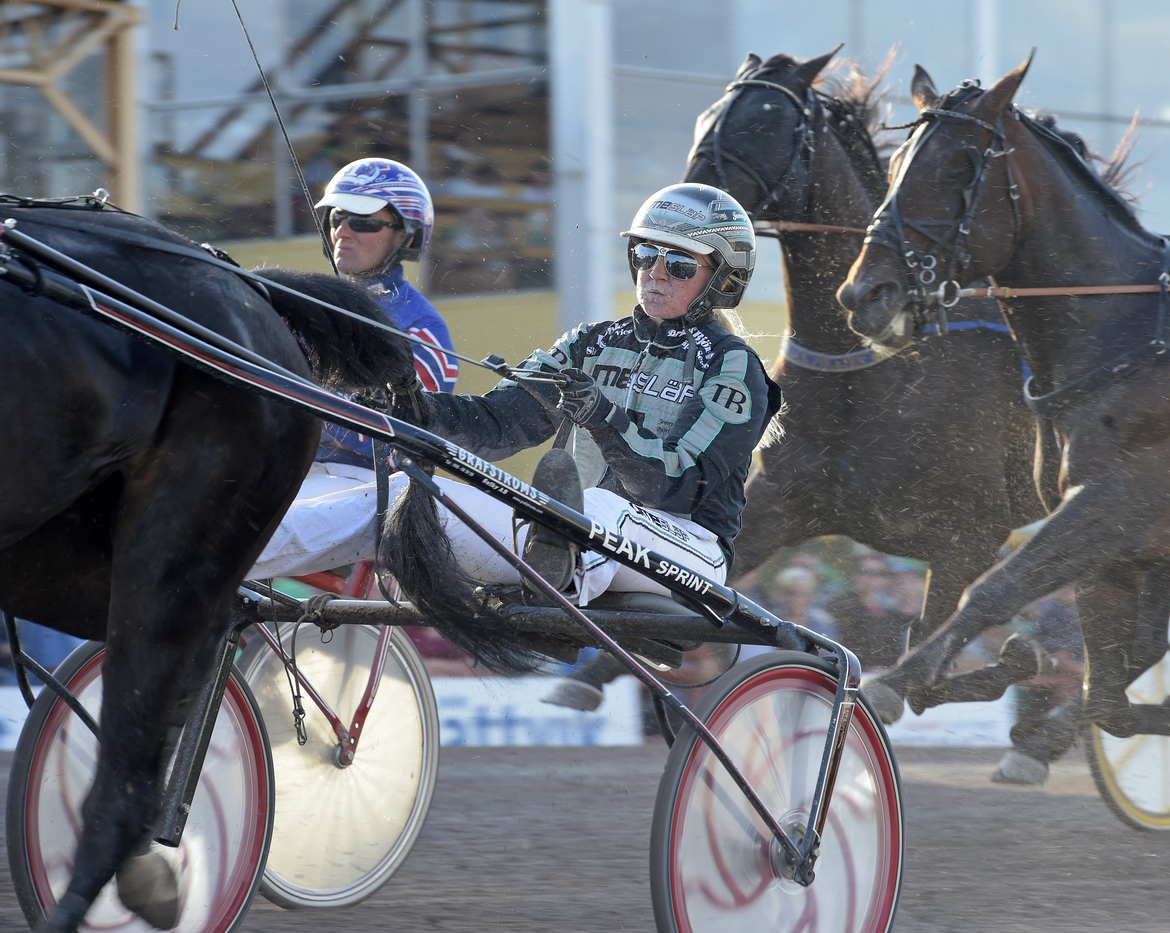 Jenny A Björk kör Edrica i V75-4 - finalen av Wången Cup för lärlingar. Lars Jakobsson TR Bild.